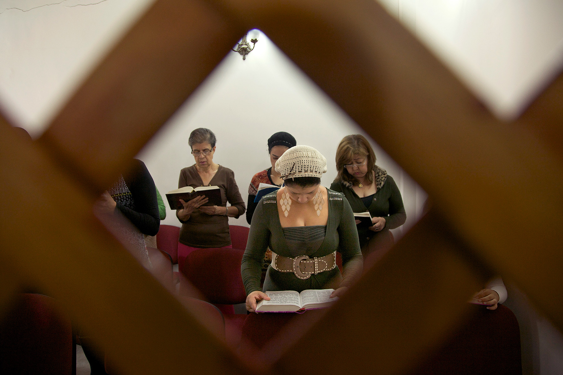 Women evangelical Christian converts to Judaism in a synagogue in Bello, Colombia